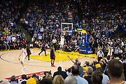 Golden State Warriors forward Andre Iguodala (9) dunks the ball in the final seconds against the Houston Rockets at Oracle Arena in Oakland, Calif., on March 31, 2017. (Stan Olszewski/Special to S.F. Examiner)