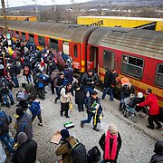 Refugees arrive at the Tabanovce, Macedonia train station, their stop before crossing the border into Serbia, on their way to Western Europe. January 2016.