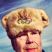 An American pin trader wears a mink hat he purchased in Moscow in Olympic Park on Friday, Feb. 14, 2014. Photographed during the Winter Olympics in Sochi, Russia with an iPhone and Instagram. (Brian Cassella/Chicago Tribune) B583527420Z.1 <br /> ....OUTSIDE TRIBUNE CO.- NO MAGS,  NO SALES, NO INTERNET, NO TV, CHICAGO OUT, NO DIGITAL MANIPULATION...