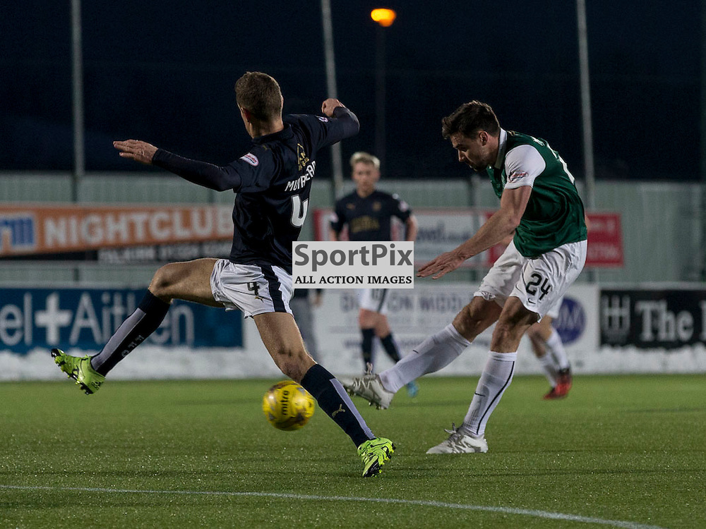 Falkirk v Hibernian   SPFL season 2015-2016  <br /> <br /> `24` shot at goal during the Ladbrokes Championship match between Falkirk v Hibernian at Falkirk Stadium on Sunday 17 January 2016<br /> <br /> Picture: Alan Rennie