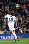 Luka Modric (midfielder; Real Madrid) in action during La Liga match between Real Madrid and Real Sociedad at Santiago Bernabeu on February 10, 2018 in Madrid, Spain