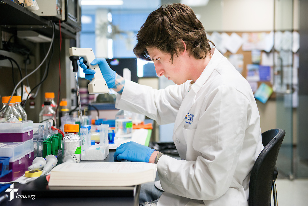 Student Benjamin Kluge works in the School of Pharmacy at Concordia University Wisconsin in Mequon, Wis., on Tuesday, May 27, 2014. LCMS Communications/Erik M. Lunsford