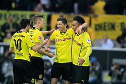 "01.03.2014, Signal Iduna Park, Dortmund, GER, 1. FBL, Borussia Dortmund vs 1. FC Nuernberg, 23. Runde, im Bild vl: Henrikh ""Micki"" Mkhihtaryan (Borussia Dortmund #10), Sokratis (Borussia Dortmund #25), Torschuetze Robert Lewandowski (Borussia Dortmund #9), Pierre-Emerick Aubameyang (Borussia Dortmund #17) beim Torjubel nach dem Treffer zum 2:0, Emotion, Freude, Glueck, Positiv // during the German Bundesliga 23th round match between Borussia Dortmund and 1. FC Nuernberg at the Signal Iduna Park in Dortmund, Germany on 2014/03/01. EXPA Pictures © 2014, PhotoCredit: EXPA/ Eibner-Pressefoto/ Schueler<br /> <br /> *****ATTENTION - OUT of GER*****"