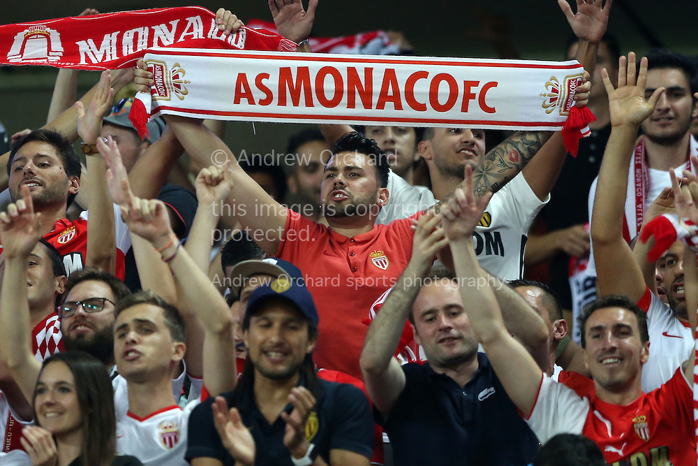AS Monaco fans celebrate after the final whistle. UEFA Champions league match, group E, Tottenham Hotspur v AS Monaco at Wembley Stadium in London on Wednesday 14th September 2016.<br /> pic by John Patrick Fletcher, Andrew Orchard sports photography.