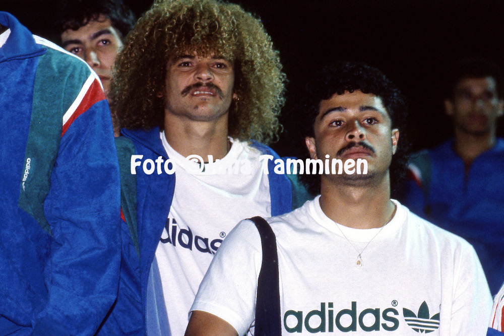 Copa America - Brasil 1989<br /> 5.7.1989, Estadio Fonte Nova, Salvador (Bahia).<br /> Group A, Colombia v Paraguay.<br /> Colombian players Gildardo Gomez (right), Carlos Valderrama &amp; Andr&eacute;s Escobar watching the preliminary match.