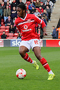 Walsall midfielder Romaine Sawyers during the Sky Bet League 1 match between Walsall and Southend United at the Banks's Stadium, Walsall, England on 16 April 2016. Photo by Chris Wynne.