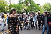 Izabel Goulart, Brazilian fashion model, posing for photographers outside the Fendi fashion show during the annual Milan Fashion Week, Milan September 22, 2016.