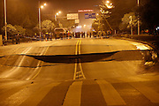 WUHAN, CHINA - FEBRUARY 10: (CHINA OUT) <br /> <br /> Road Sinks <br /> <br /> The ground in Hankou's Jianshe Road sinks on February 10, 2015 in Wuhan, Hubei province of China. A road in South China's Hankou sank heavily and further reasons was under construction. <br /> ©Exclusivepix Media