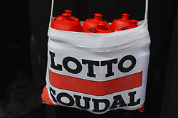 March 2, 2019 - Dubai, United Arab Emirates - Team Lotto Soudal bottles seen ready, at the start line of the seventh and final stage - Dubai Stage of the UAE Tour 2019, a 145km with a start from Dubai Safari Park and finish in City Walk area. .On Saturday, March 2, 2019, in Dubai Safari Park, Dubai Emirate, United Arab Emirates. (Credit Image: © Artur Widak/NurPhoto via ZUMA Press)