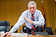 Apr. 20, 2009 -- PHOENIX, AZ: US Senator JON KYL (R-AZ) at the US Senate committee hearing in Phoenix Monday. The US Senate Committee on Homeland Security and Government Affairs, chaired by Sen. Joe Lieberman (Ind-CT), held a hearing about local perspectives on border violence in the Phoenix City Council chambers in Phoenix, AZ, Monday.   Photo by Jack Kurtz