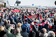 Manchester United fans and scarves during the ceremony at Manchesterplatz, Munich, Germany. Picture by Phil Duncan.