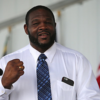 CANASTOTA, NY - JUNE 14: Champion boxer Riddick Bowe holds up his hall of fame ring as he speaks during the induction ceremony at the International Boxing Hall of Fame induction Weekend of Champions events on June 14, 2015 in Canastota, New York. (Photo by Alex Menendez/Getty Images) *** Local Caption *** Riddick Bowe