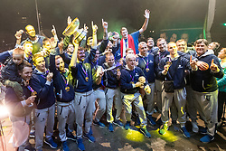 The players wth trophy during Reception of Slovenian national baskteball team with Gold medal from Eurobasket 2017 - Istanbul and Slovenian women's U23 volleyball team with Silver medal from Women's U23 World Championships - Ljubljana, on September 18, 2017 in Kongresni trg, Ljubljana, Slovenia. Photo by Matic Klansek Velej / Sportida