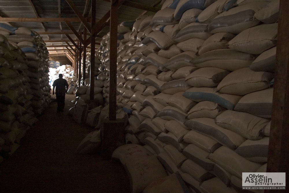 Rice bags stacked in warehouse, Asutsuare, Ghana.