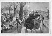 "Vintage Illustration form Harper's Weekly 1862 ""The Skating Season"" by Winslow Homer"