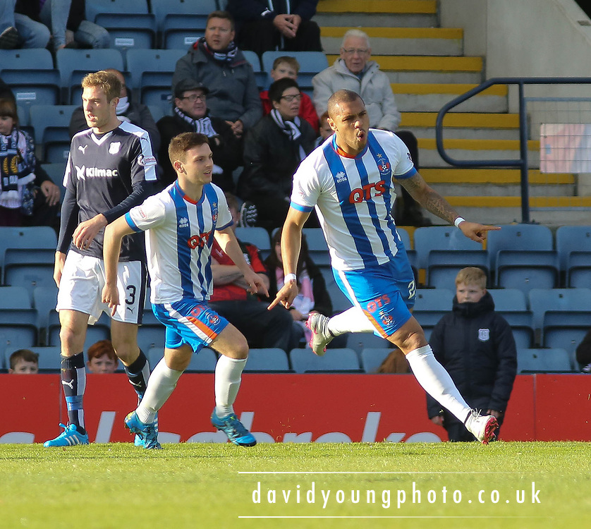 Kilmarnock&rsquo;s Josh Magennis celebrates after heading the opener - Dundee v Kilmarnock, Ladbrokes Premiership at Dens Park <br /> <br />  - &copy; David Young - www.davidyoungphoto.co.uk - email: davidyoungphoto@gmail.com