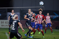 Atletico de Madrid´s Maria Leon and Olympique Lyonnais´s Bremer during UEFA Women´s Champions League soccer match between Atletico de Madrid and Olympique Lyonnais, in Madrid, Spain. November 11, 2015. (ALTERPHOTOS/Victor Blanco)