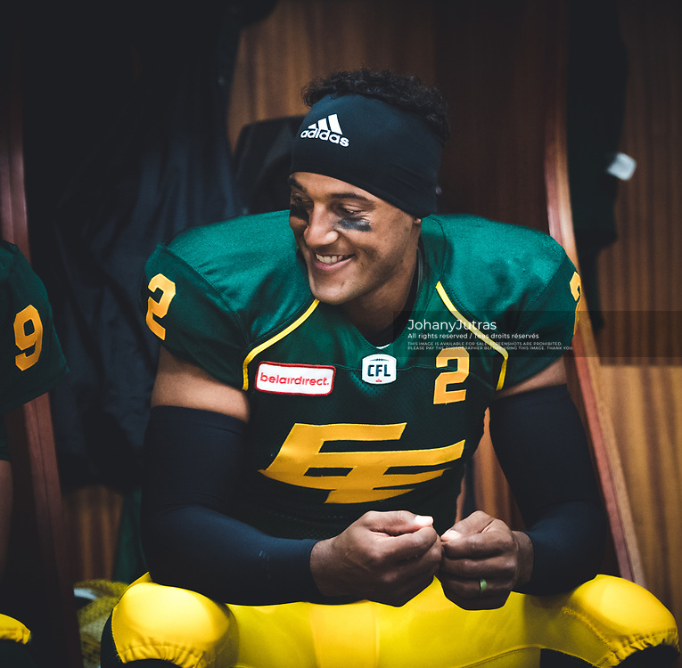 James Franklin (2) of the Edmonton Eskimos in the locker room before the game against the Calgary Stampeders at Commonwealth Stadium in Edmonton AB, Saturday, September 9, 2017. (Photo: Johany Jutras)