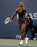 Serena Williams of the US pumps her fist  after defeating Ana Ivanovic of Serbia and Montenegro in their third round match on the seventh day of the 2006 US Open tennis tournament in Flushing Meadows New York Sunday 03 September 2006 (Andrew Gombert for The New York Times)