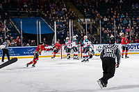 KELOWNA, CANADA - MARCH 3: The Portland Winterhawks celebrate a second period goal against the Kelowna Rockets  on March 3, 2019 at Prospera Place in Kelowna, British Columbia, Canada.  (Photo by Marissa Baecker/Shoot the Breeze)