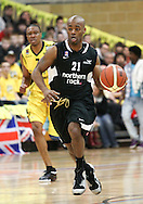 Guildford, England, Sunday 21st March 2010:  Reggie Jackson of Newcastle runs with the ball during the  BBL Trophy Final between Cheshire Jets and Newcastle Eagles at the Guildford Spectrum, Surrey, UK. Final score Cheshire 95-111 Newcastle.  (photo by Andrew Tobin/SLIK images)