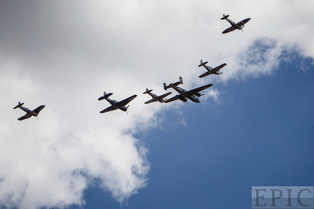 RENO, NV - SEPTEMBER 14: The Texas Flying Legends Museum flies in formation during the Reno Championship Air Races on September 14, 2017 in Reno, Nevada. (Photo by Jonathan Devich/Getty Images) *** Local Caption ***