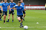 Carlisle United Forward Shaun Miller (20) warms up before kick off during the EFL Sky Bet League 2 match between Crawley Town and Carlisle United at the Checkatrade.com Stadium, Crawley, England on 30 September 2017. Photo by Andy Walter.