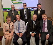 Prof Cathal O Donohue Teagasc, David Small, DARDNI, Peter Young IFJ, and seated MEP Mairead McGuinness John Kennedy Stealth Manufacturing (overall winner), Prof Gerry Boyle, Director Teagasc and John Concannon JFC  at the JFC Innovation awards sponsored by Teagasc, DARD Northern Ireland and the Irish Farmers Journal at the Claregalway Hotel. Photo:Andrew Downes