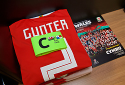 CARDIFF, WALES - Tuesday, November 14, 2017: The Wales shirt and captain's armband of Chris Gunter in the dressing room ahead of the international friendly match between Wales and Panama at the Cardiff City Stadium. (Pic by David Rawcliffe/Propaganda)