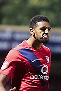 York City forward Vadaine Oliver celebrates his opening goaln during the Johnstone's Paint Trophy match between York City and Doncaster Rovers at Bootham Crescent, York, England on 6 October 2015. Photo by Simon Davies.