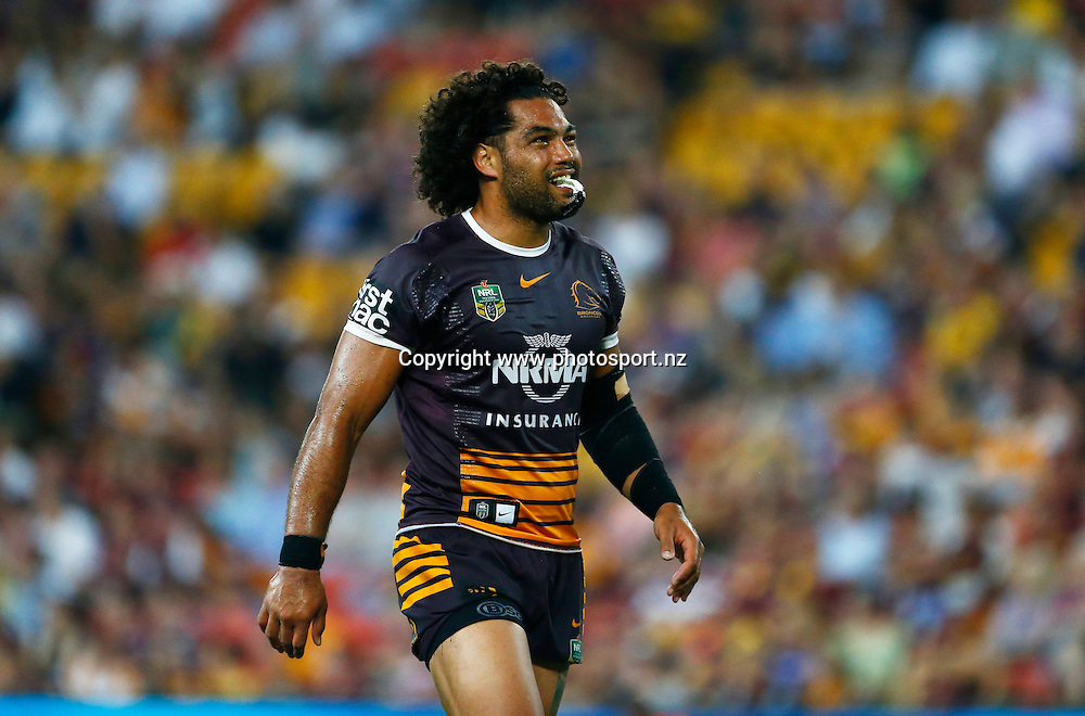 Rugby League NRL - Brisbane Broncos v  New Zealand Warriors , Suncorp Stadium , Brisbane Australia -   11 March 2016<br /> Broncos Adam Blair<br /> Jason O'Brien / www.photosport.nz
