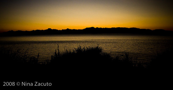 Sunset over the Olympic Mountains, Washington.