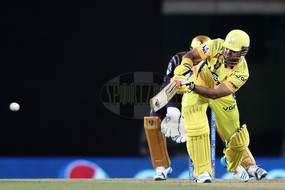 Suresh Raina of The Chennai Super Kings plays a delivery through the leg side during match 21 of the Pepsi Indian Premier League Season 2014 between the Chennai Superkings and the Kolkata Knight Riders  held at the JSCA International Cricket Stadium, Ranch, India on the 2nd May  2014<br /> <br /> Photo by Shaun Roy / IPL / SPORTZPICS<br /> <br /> <br /> <br /> Image use subject to terms and conditions which can be found here:  http://sportzpics.photoshelter.com/gallery/Pepsi-IPL-Image-terms-and-conditions/G00004VW1IVJ.gB0/C0000TScjhBM6ikg