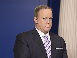 July 21, 2017 - (File Photo) - White House press secretary Sean Spicer has resigned on Friday, after President Trump named a Wall Street financier as his top communications official. PICTURED: May 16, 2017 - Washington, District of Columbia, United States of America - White House Press Secretary SEAN SPICER participates in a briefing at the White House.  (Credit Image: © Chris Kleponis/CNP via ZUMA Wire)