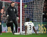 Football - 2016 / 2017 Premier League - Crystal Palace vs. Manchester United<br /> <br /> Eric Bailey of Manchester United sits injured as the trainer  / Physio Neil Hough arrives  at Selhurst Park.<br /> <br /> COLORSPORT/ANDREW COWIE