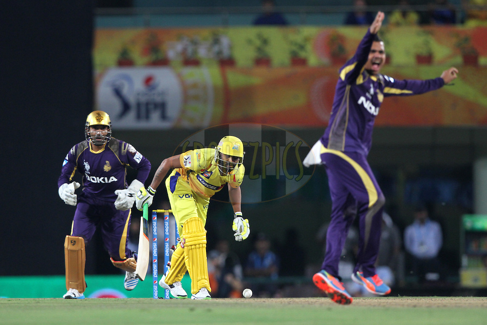 Ravindra Jadeja of The Chennai Superkings during match 21 of the Pepsi Indian Premier League Season 2014 between the Chennai Superkings and the Kolkata Knight Riders  held at the JSCA International Cricket Stadium, Ranch, India on the 2nd May  2014<br /> <br /> Photo by Deepak Malik / IPL / SPORTZPICS<br /> <br /> <br /> <br /> Image use subject to terms and conditions which can be found here:  http://sportzpics.photoshelter.com/gallery/Pepsi-IPL-Image-terms-and-conditions/G00004VW1IVJ.gB0/C0000TScjhBM6ikg