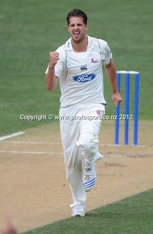 Dean Bartlett celebrates the wicket of Brad Wilson. Plunket Shield Cricket, Auckland Aces v Northern Knights at Eden Park Outer Oval. Monday 12 November 2012. Photo: Andrew Cornaga/Photosport.co.nz