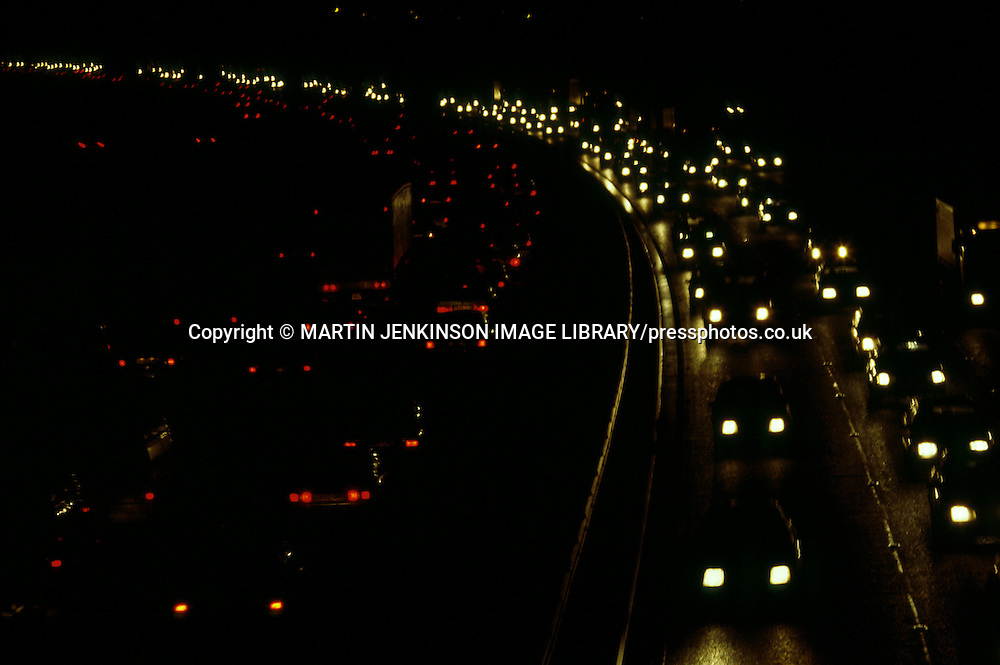 Traffic congestion on M1 Motorway at night