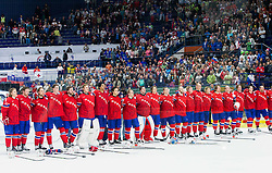 Players of Norway celebrate after the Ice Hockey match between Slovenia and Norway at Day 8 in Group B of 2015 IIHF World Championship, on May 8, 2015 in CEZ Arena, Ostrava, Czech Republic. Photo by Vid Ponikvar / Sportida