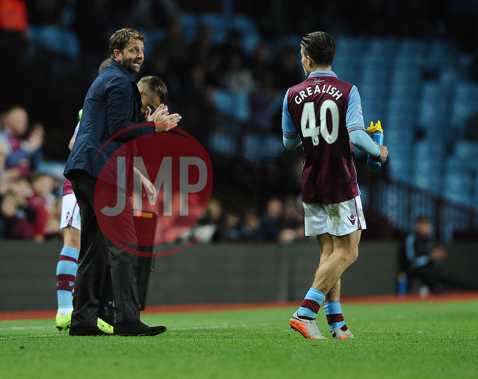 Aston Villa Manager Tim Sherwood passes instructions on to Jack Grealish of Aston Villa  - Mandatory byline: Joe Meredith/JMP - 07966386802 - 25/08/2015 - FOOTBALL - Villa Park -Birmingham,England - Aston Villa v Notts County - Capital One Cup - Second Round