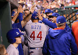 September 27, 2017 - St. Louis, MO, USA - The Chicago Cubs' Anthony Rizzo (44) in the dugout after scoring on a three-run home run by Addison Russell against the St. Louis Cardinals, during the seventh inning at Busch Stadium in St. Louis on Wednesday, Sept., 27, 2017. (Credit Image: © Nuccio Dinuzzo/TNS via ZUMA Wire)