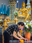 19 AUGUST 2015 - BANGKOK, THAILAND: A woman sets out votive candles at a table in front of the Four Faced Buddha in Erawan Shrine before it reopened. Erawan Shrine in Bangkok reopened Wednesday morning after more than 20 people were killed and more than 100 injured in a bombing at the shrine Monday, August 17, 2015. The shrine is a popular tourist attraction in the center of Bangkok's high end shopping district and is an important religious site for Thais. No one has claimed responsibility for the bombing.      PHOTO BY JACK KURTZ