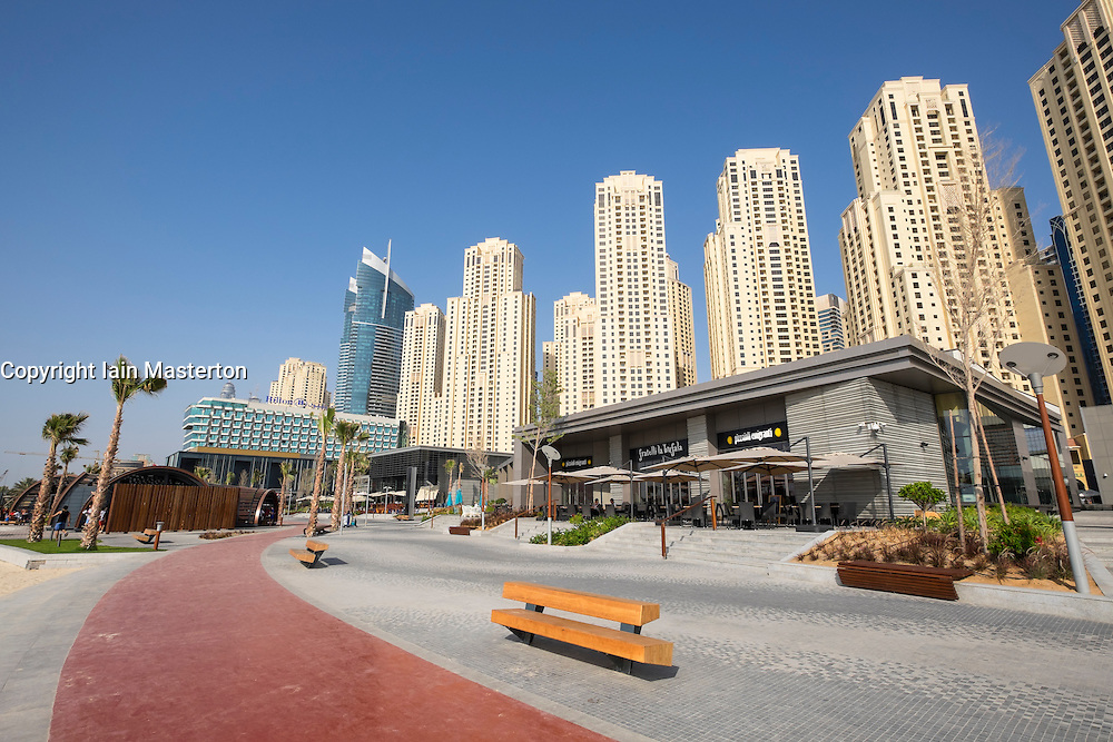 New mixed use retail and leisure property development The Beach on waterfront  off The Walk at JBR in Dubai United Arab Emirates
