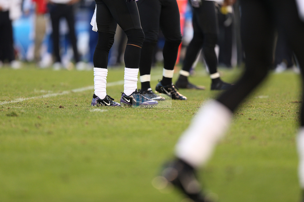 Details of Baltimore Ravens Nike shoes against the San Diego Chargers during an NFL game on Sunday, November 25, 2012 in San Diego, CA.  (Photo by Jed Jacobsohn)