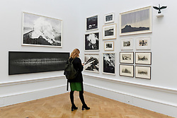 """© Licensed to London News Pictures. 08/06/2017. London, UK. A visitor views works on display including bottom left """"Wall of Oaks"""" by Cathy de Monchaux (GBP6,600).  Preview of the Summer Exhibition 2017 at the Royal Academy of Arts in Piccadilly.  Co-ordinated by Royal Academician Eileen Cooper, the 249th Summer Exhibition is the world's largest open submission exhibition with around 1,100 works on display by high profile and up and coming artists.<br />  Photo credit : Stephen Chung/LNP"""