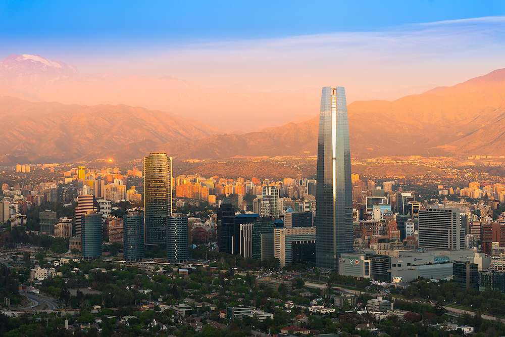 Panoramic view of Santiago de Chile with Costanera Center skyscraper <br />