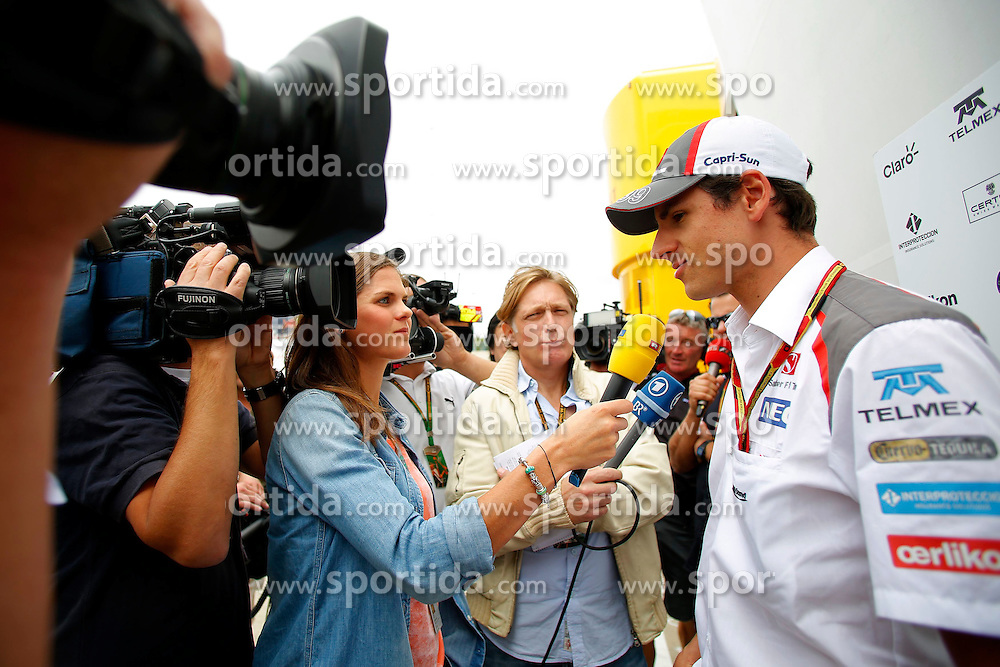 03.07.2014, Silverstone Circuit, Silverstone, ENG, FIA, Formel 1, Grand Prix von Grossbritannien, Vorberichte, im Bild Adrian Sutil (GER) Sauber talks with the media // during the preperation of British Formula One Grand Prix at the Silverstone Circuit in Silverstone, Great Britain on 2014/07/03. EXPA Pictures &copy; 2014, PhotoCredit: EXPA/ Sutton Images/ Martini<br /> <br /> *****ATTENTION - for AUT, SLO, CRO, SRB, BIH, MAZ only*****