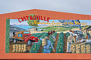 "Mural of the artichoke harvest in the ""artichoke center of the world"", Castroville, California USA"