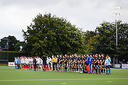 The Black Sticks stand for the national anthem. Black Sticks Men vs Korea test series, Lloyd Elsmore Hockey Stadium, Auckland, New Zealand. 17 March 2016. Photo: Anthony Au-Yeung / www.photosport.nz