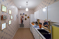 Kitchen of model East German apartment at DDR Museum, showing life in former East Germany,  in Mitte Berlin, Germany